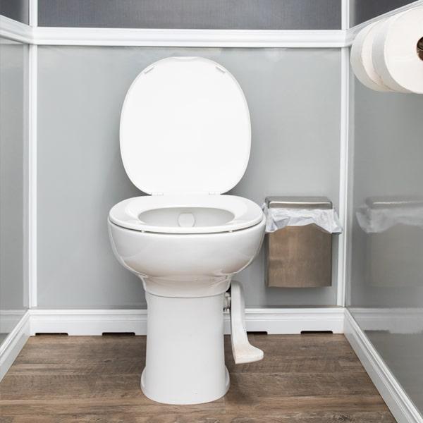 toilet inside luxury restroom trailer