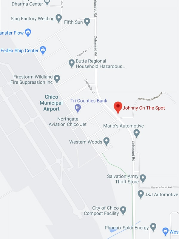 map showing Johnny on the Spot's location near the Chico airport